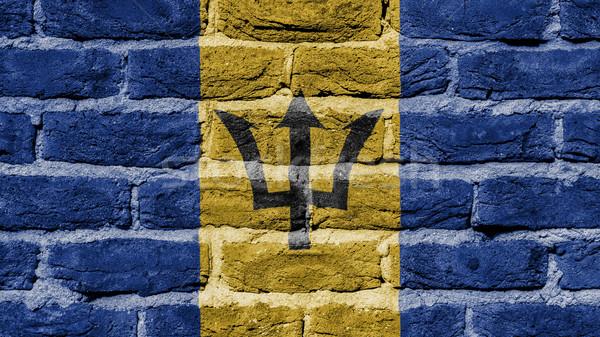 Muur textuur oude vlag Barbados bouw Stockfoto © michaklootwijk