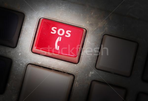 Piros gomb koszos öreg panel szelektív fókusz Stock fotó © michaklootwijk