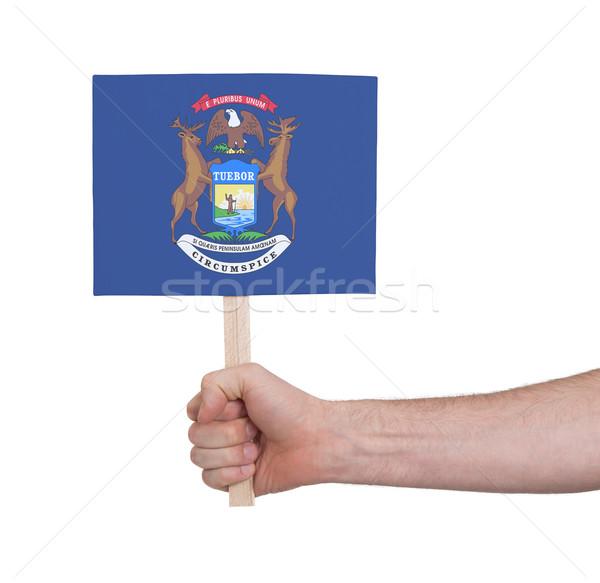 Mano piccolo carta bandiera Michigan Foto d'archivio © michaklootwijk