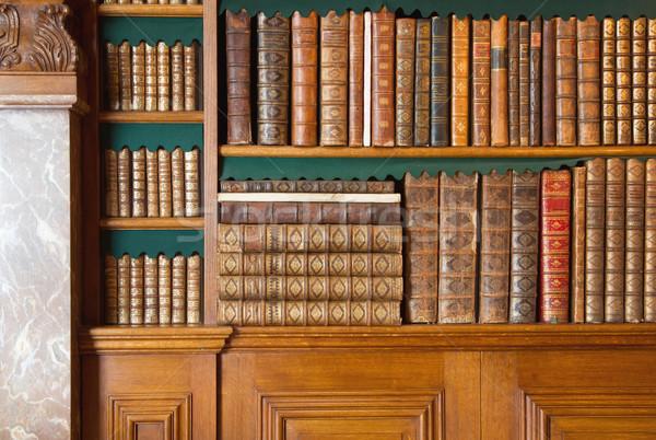 Bookshelf. Vintage books collection, antique book textured cover Stock photo © michaklootwijk