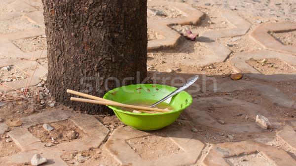 Terkedilmiş çanak çorba sokaklarda ağaç sokak Stok fotoğraf © michaklootwijk