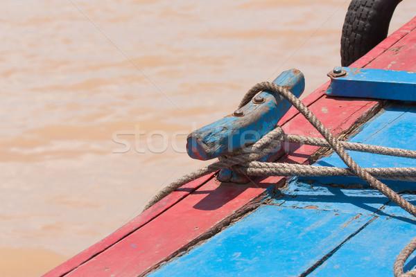 Kötél kicsi halászhajók Vietnam fém biztonság Stock fotó © michaklootwijk