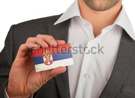 üzletember mutat kártya matt papír hatás Stock fotó © michaklootwijk