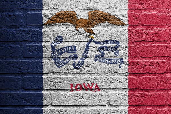 Téglafal festmény zászló Iowa izolált terv Stock fotó © michaklootwijk