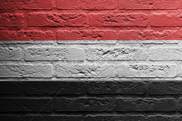 Muur schilderij vlag Jemen geïsoleerd baksteen Stockfoto © michaklootwijk