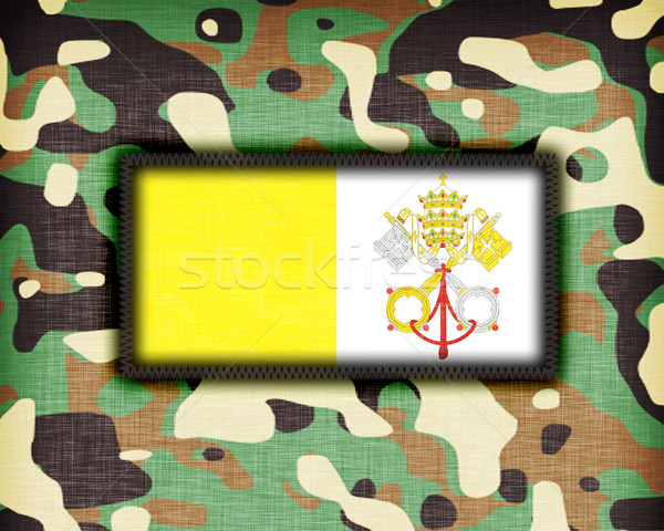 Kamuflaż uniform Watykan banderą tekstury streszczenie Zdjęcia stock © michaklootwijk