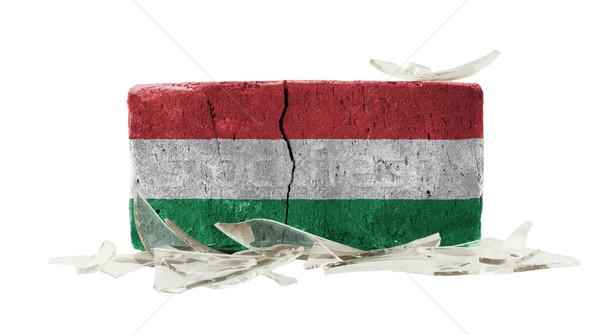 Tijolo cacos de vidro violência bandeira Hungria parede Foto stock © michaklootwijk