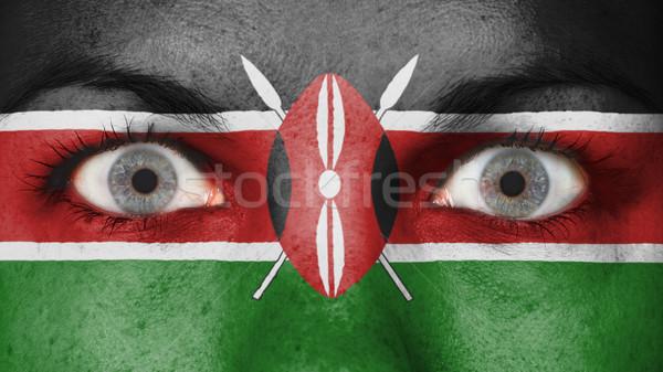 Közelkép szemek zászló festett arc Kenya Stock fotó © michaklootwijk
