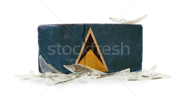ストックフォト: レンガ · 割れたガラス · 暴力 · フラグ · 壁