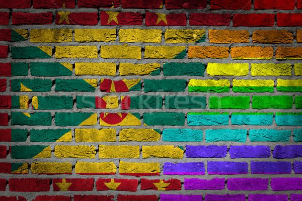 Sötét téglafal jogok Grenada textúra zászló Stock fotó © michaklootwijk