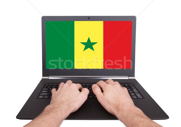 Kezek dolgozik laptop Szenegál mutat képernyő Stock fotó © michaklootwijk
