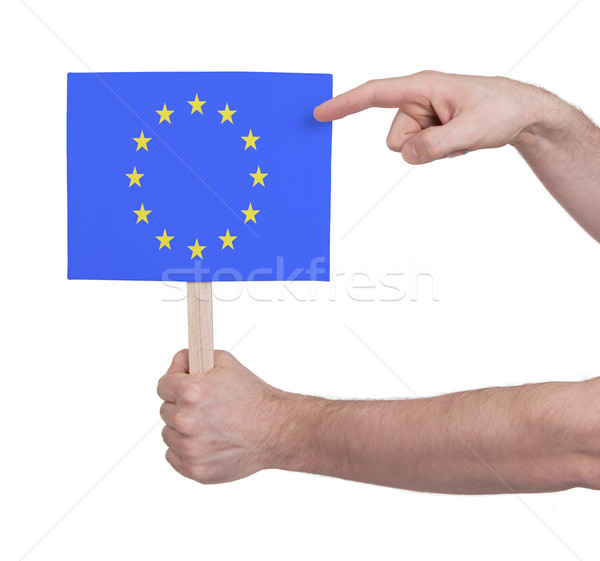 Hand holding small card - Flag of the European Union Stock photo © michaklootwijk