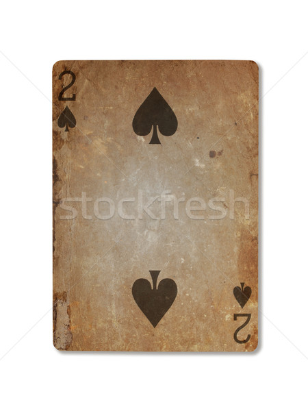 Stock photo: Very old playing card, two of spades