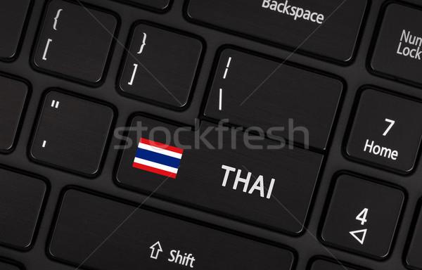 Belépés gomb zászló Thaiföld nyelv tanul Stock fotó © michaklootwijk