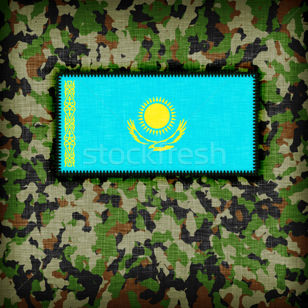 Camouflage uniform Kazachstan vlag textuur abstract Stockfoto © michaklootwijk
