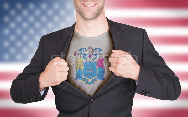 Empresário abertura terno camisas bandeira EUA Foto stock © michaklootwijk