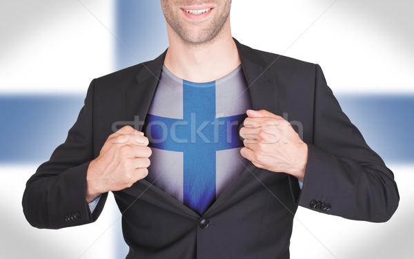 Geschäftsmann Öffnen Anzug Shirt Flagge Finnland Stock foto © michaklootwijk