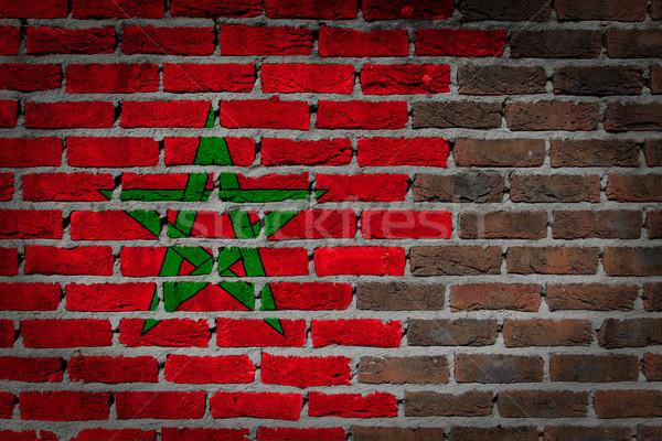 Oscuro pared de ladrillo Marruecos textura bandera pintado Foto stock © michaklootwijk