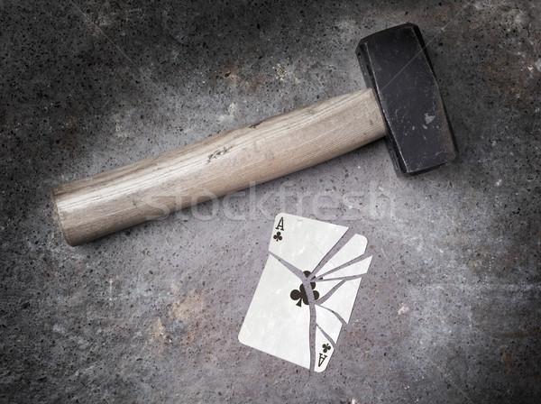çekiç kırık kart as bağbozumu bakmak Stok fotoğraf © michaklootwijk