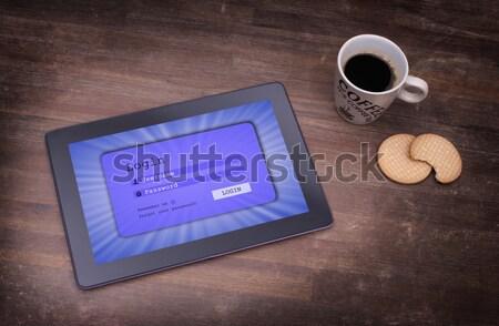 Inloggen interface tablet gebruikersnaam wachtwoord paars Stockfoto © michaklootwijk