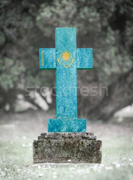Sírkő temető Kazahsztán öreg viharvert zászló Stock fotó © michaklootwijk