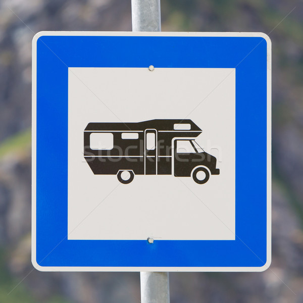 Lakókocsi felirat Európa kék pólus út Stock fotó © michaklootwijk