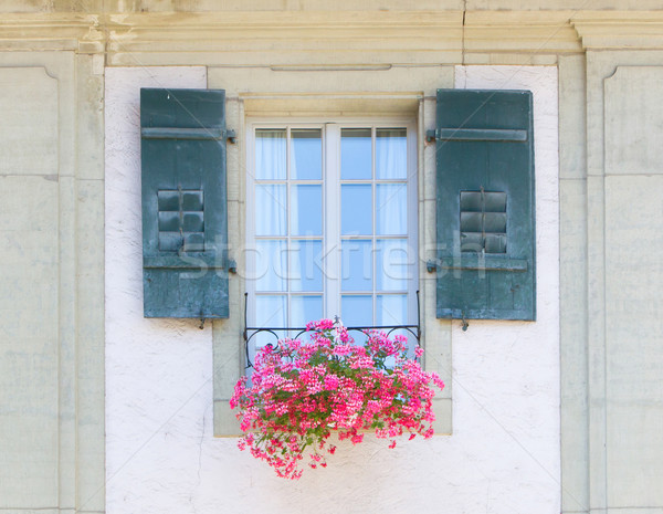 Old window and flowers at a historic building Stock photo © michaklootwijk