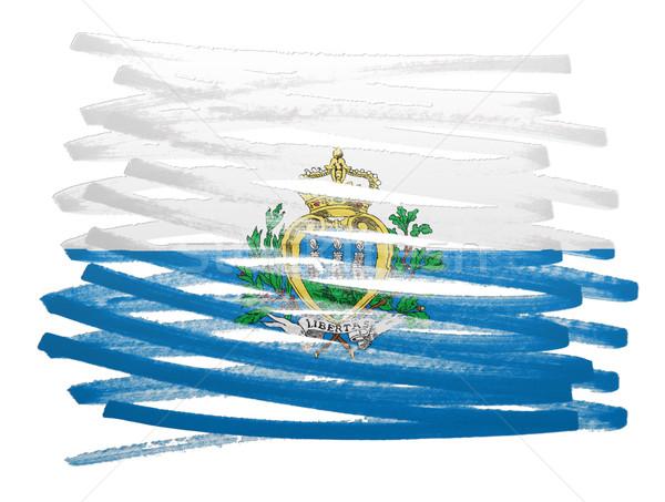 флаг иллюстрация Сан-Марино пер бизнеса краской Сток-фото © michaklootwijk