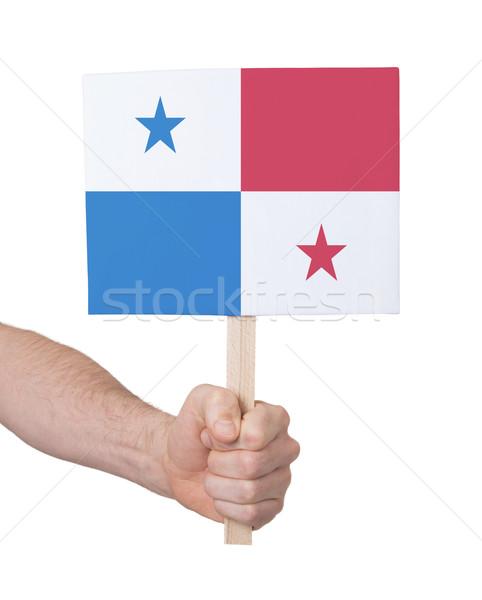 Kéz tart kicsi kártya zászló Panama Stock fotó © michaklootwijk