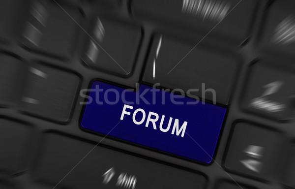 Blu pulsante forum tastiera del computer portatile business abstract Foto d'archivio © michaklootwijk