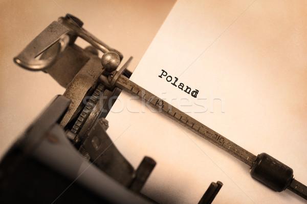 Oude schrijfmachine Polen opschrift vintage land Stockfoto © michaklootwijk