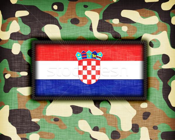 Kamuflaż uniform Chorwacja banderą tekstury streszczenie Zdjęcia stock © michaklootwijk