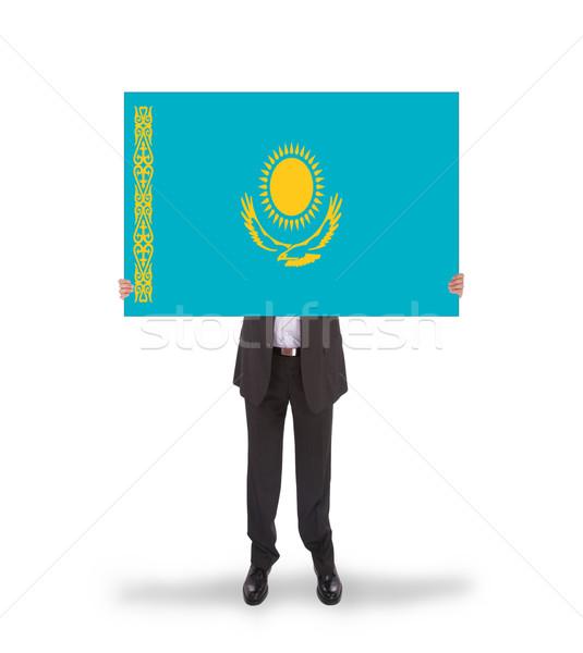 Empresário grande cartão bandeira Cazaquistão Foto stock © michaklootwijk