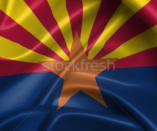 Saten bayrak üç boyutlu vermek Arizona doku Stok fotoğraf © michaklootwijk