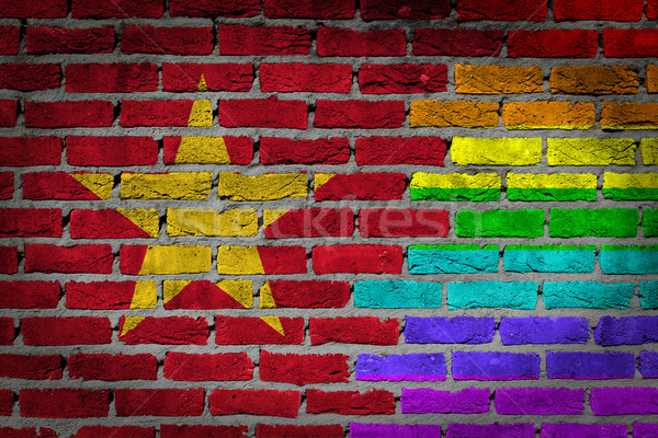 темно кирпичная стена правые Вьетнам текстуры флаг Сток-фото © michaklootwijk
