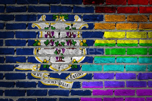 Sötét téglafal jogok Connecticut textúra zászló Stock fotó © michaklootwijk