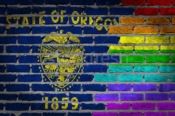 Escuro parede de tijolos direitos Oregon textura bandeira Foto stock © michaklootwijk