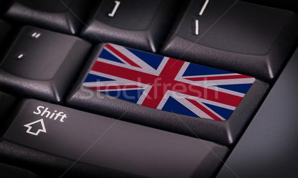 Vlag toetsenbord knop Verenigd Koninkrijk ontwerp laptop Stockfoto © michaklootwijk