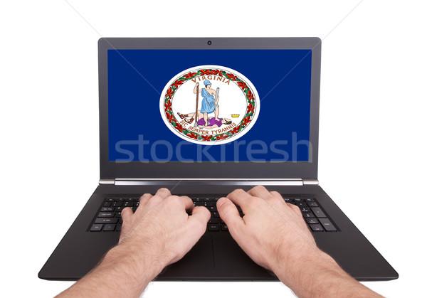 Stock fotó: Kezek · dolgozik · laptop · Virginia · mutat · képernyő