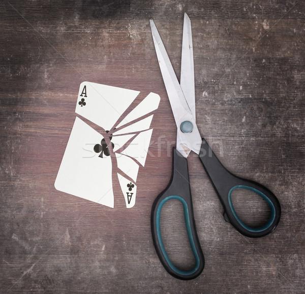Dipendenza carta forbici ace carta legno Foto d'archivio © michaklootwijk