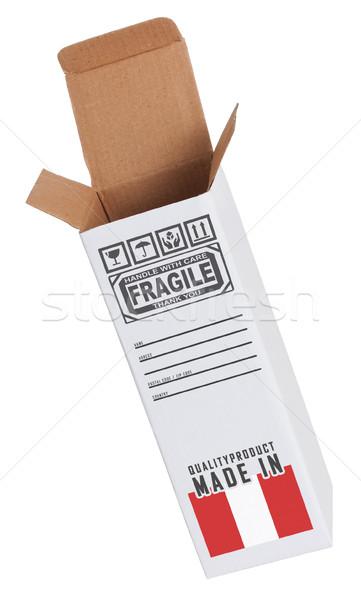 Export termék Peru kinyitott papír doboz Stock fotó © michaklootwijk