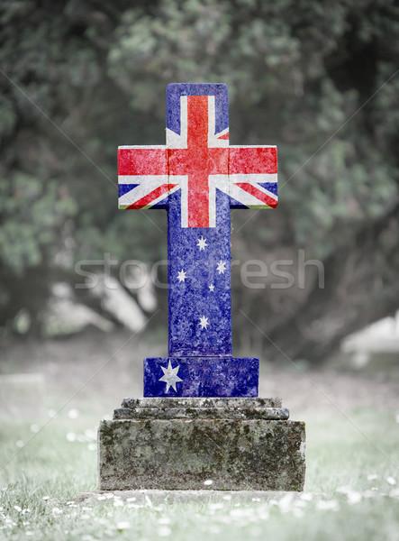 Grafsteen begraafplaats Australië oude verweerde gras Stockfoto © michaklootwijk