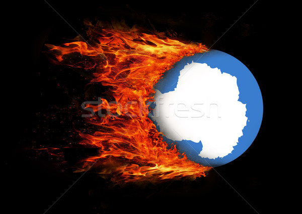 Flag with a trail of fire - Antarctica Stock photo © michaklootwijk