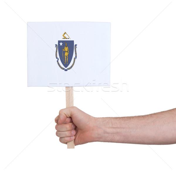 Kéz tart kicsi kártya zászló Massachusetts Stock fotó © michaklootwijk
