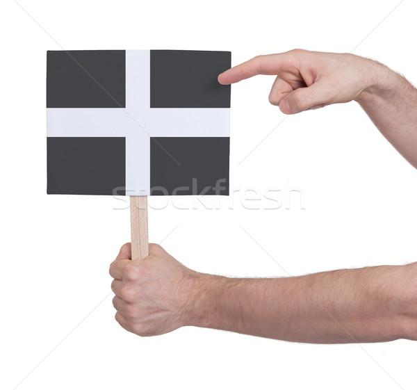 Kéz tart kicsi kártya zászló Cornwall Stock fotó © michaklootwijk