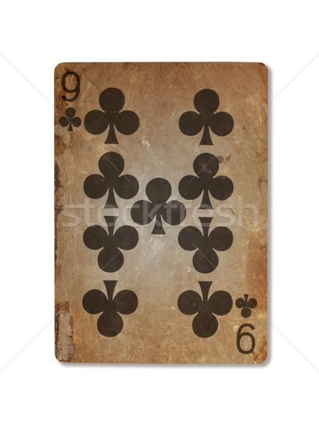 Edad jugando tarjeta nueve aislado blanco Foto stock © michaklootwijk