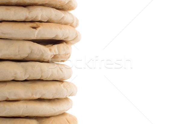 ストックフォト: イスラエルの · パン · ピタ麻 · 孤立した · 白 · 食品