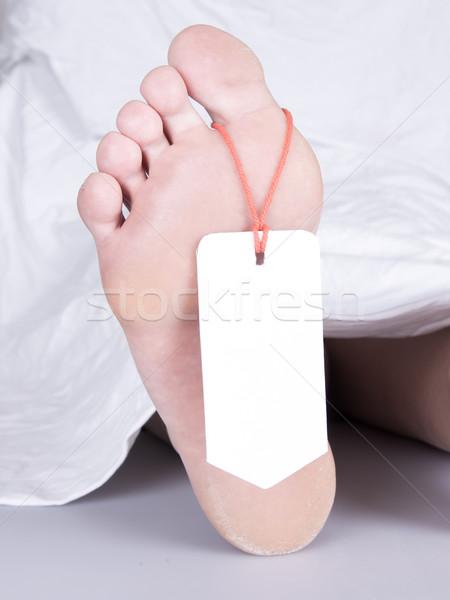 Trup palec tag biały arkusza kobieta Zdjęcia stock © michaklootwijk
