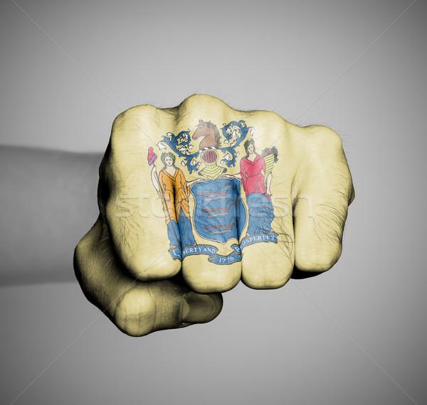 Verenigde Staten vuist vlag New Jersey hand man Stockfoto © michaklootwijk