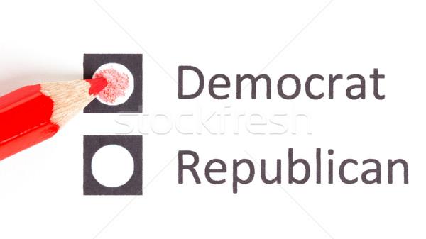 Foto stock: Vermelho · lápis · escolher · democrata · republicano · eleição